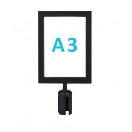 Információs tábla normál oszlopra - fekete A3 - álló