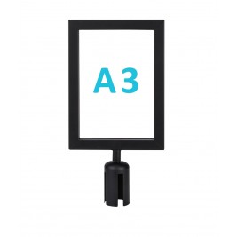 Információs tábla szalagos kordonoszlopra csatlakozó elemmel - fekete A3 - álló