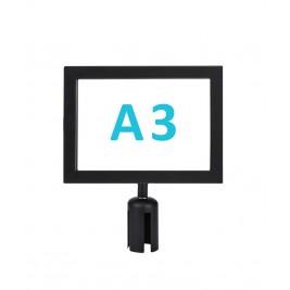 Információs tábla normál oszlopra - fekete A3 - fekvő