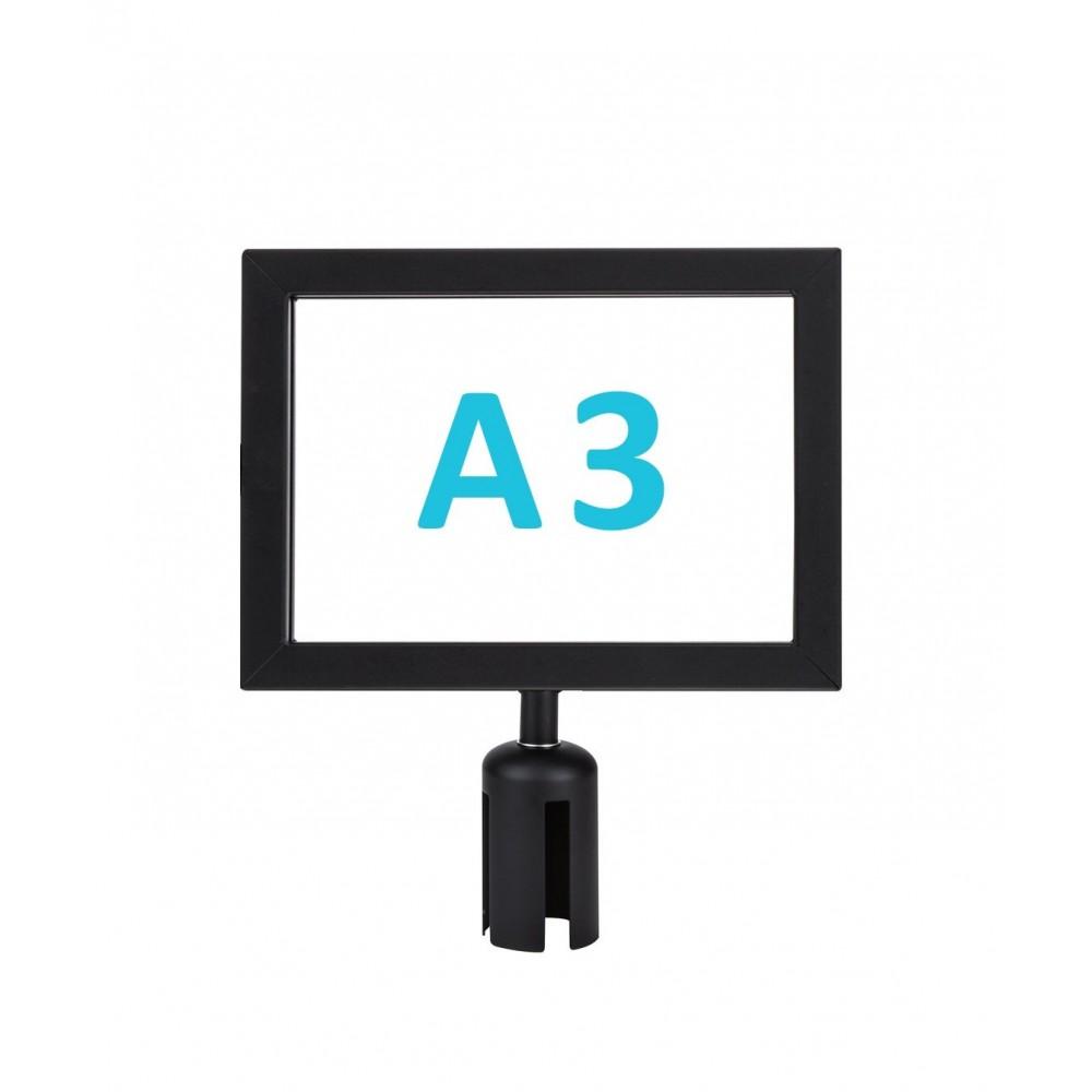 Információs tábla szalagos kordonoszlopra csatlakozó elemmel - fekete A3 - fekvő