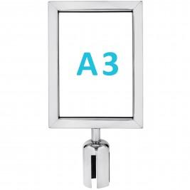 Információs tábla szalagos kordonoszlopra csatlakozó elemmel - króm A3 - álló
