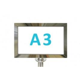 Információs tábla köteles oszlopra - króm A4 - fekvő