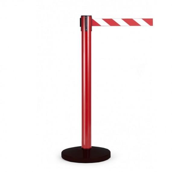 Kordonoszlop szett, normál méretű piros oszlop fekete talppal + 2,0 m szalagkazetta