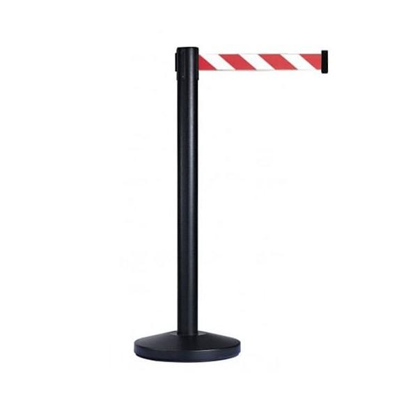 Normál méretű (szalaghossz: 2,0 m) fekete oszlop + 2,0 m piros-fehér csíkos szalagkazetta.