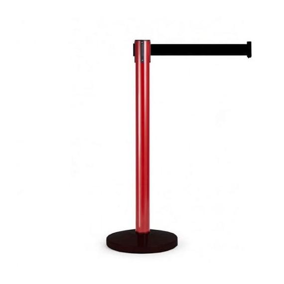 Kordonoszlop szett: nagy méretű piros oszlop fekete talppal + 4,5 m választható színű szalagkazettával