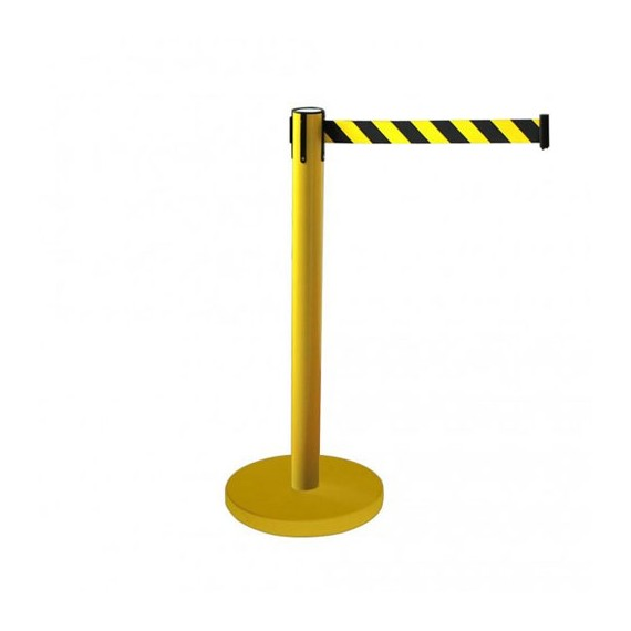 Kordonoszlop szett, normál méretű sárga oszlop sárga talppal + 2,0 m sárga-fekete szalagkazetta