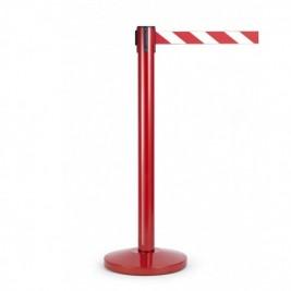 Kordonoszlop szett, normál méretű piros oszlop piros talppal + 2,0 m piros-fehér szalagkazetta