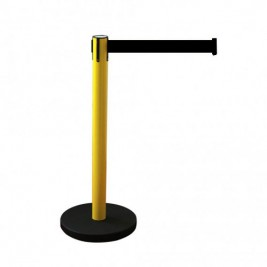 Kordonoszlop szett, normál méretű sárga színű oszlop fekete talppal + 2,0 m választható színű szalagkazetta