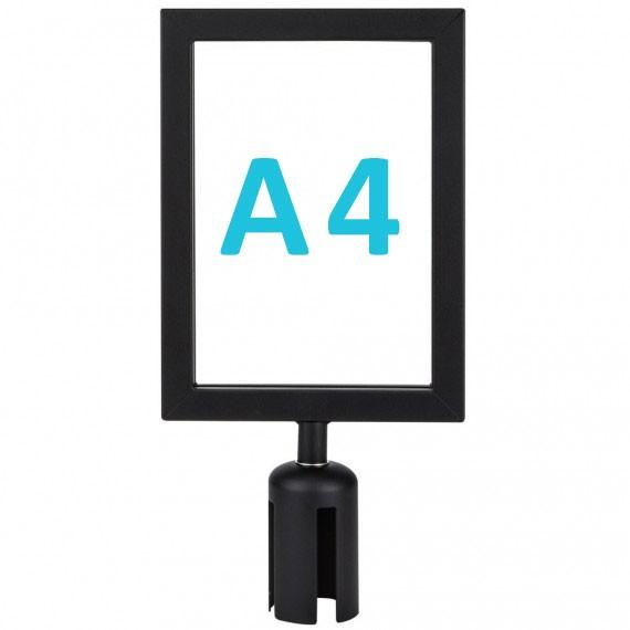 Információs tábla szalagos kordonoszlopra csatlakozó elemmel - fekete A4 - álló