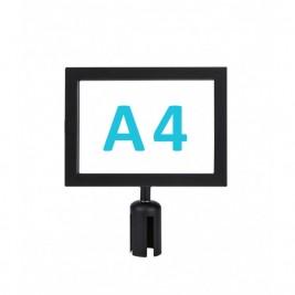 Információs tábla szalagos kordonoszlopra csatlakozó elemmel - fekete A4 - fekvő
