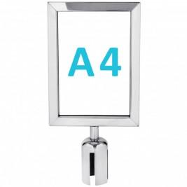 Információs tábla szalagos kordonoszlopra csatlakozó elemmel - króm A4 - álló