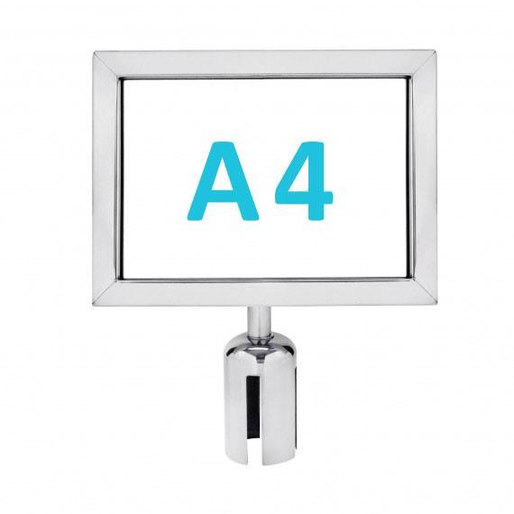 Információs tábla szalagos kordonoszlopra csatlakozó elemmel - króm A4 - fekvő