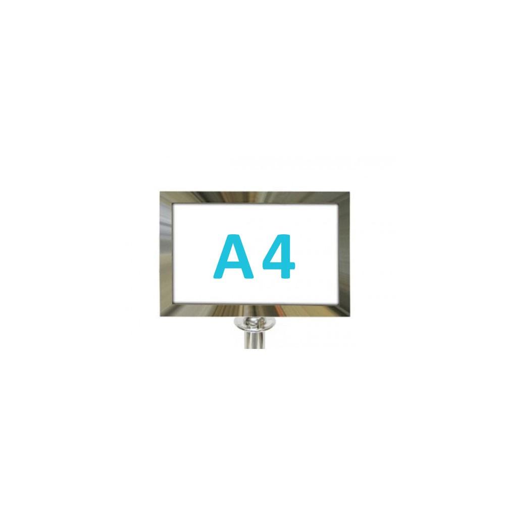 Információs tábla köteles kordonoszlopra csatlakozó elemmel - króm A4 - fekvő