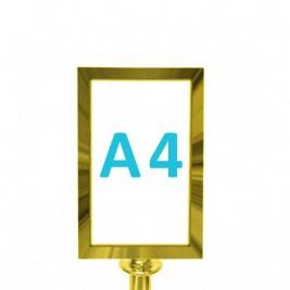 Információs tábla köteles kordonoszlopra csatlakozó elemmel - titanium A4 - fekvő