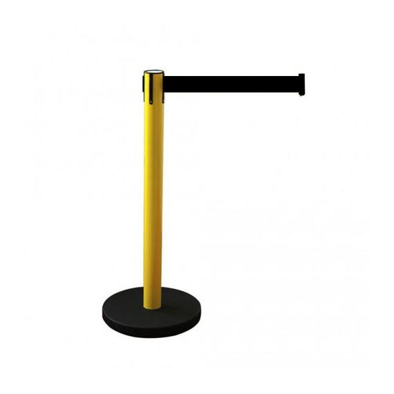 Kordonoszlop szett, normál méretű sárga színű oszlop fekete talppal + 2,4 m fékezett szalagkazetta