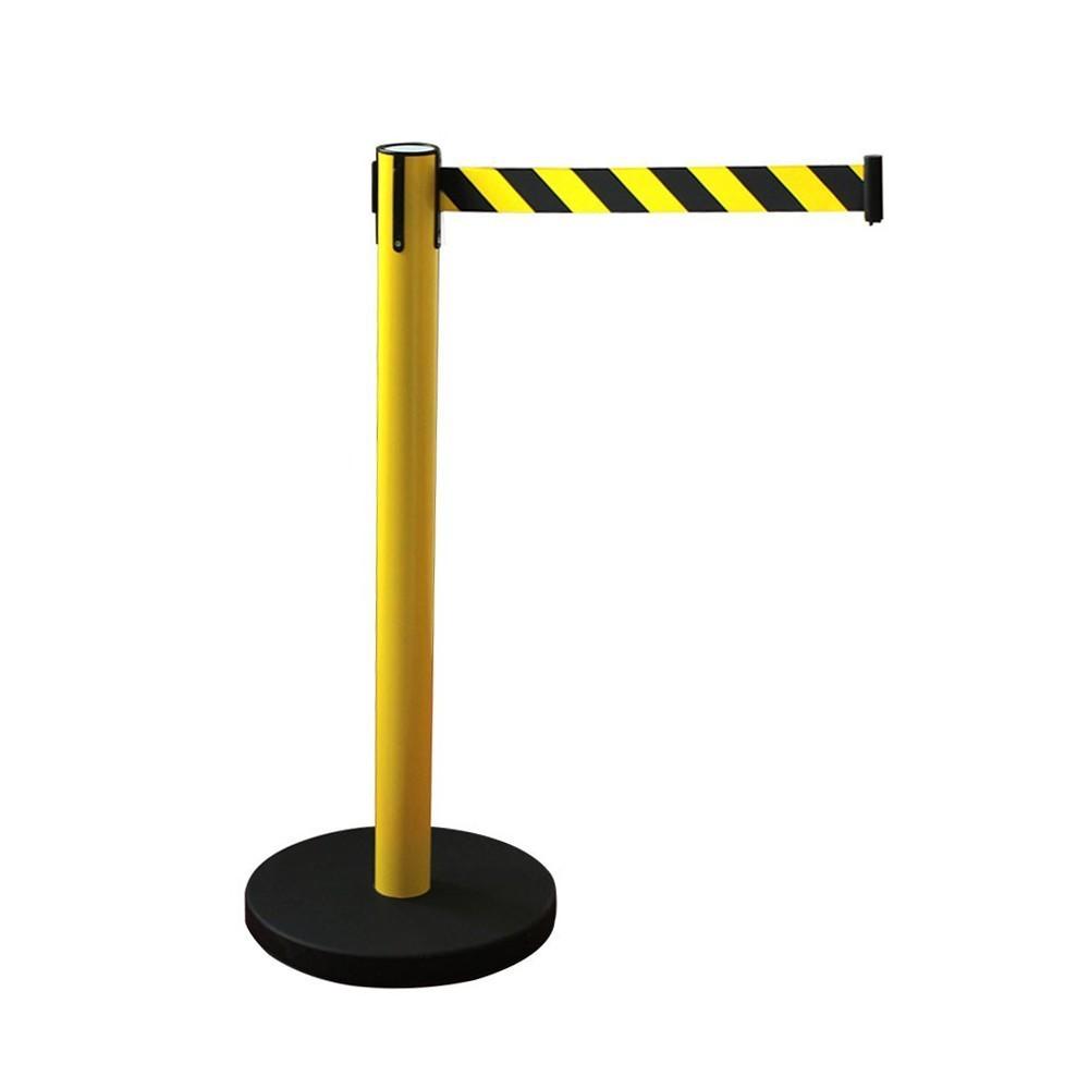 Kordonoszlop szett, normál méretű sárga oszlop  + 2,4 m sárga-fekete fékezett szalagkazetta