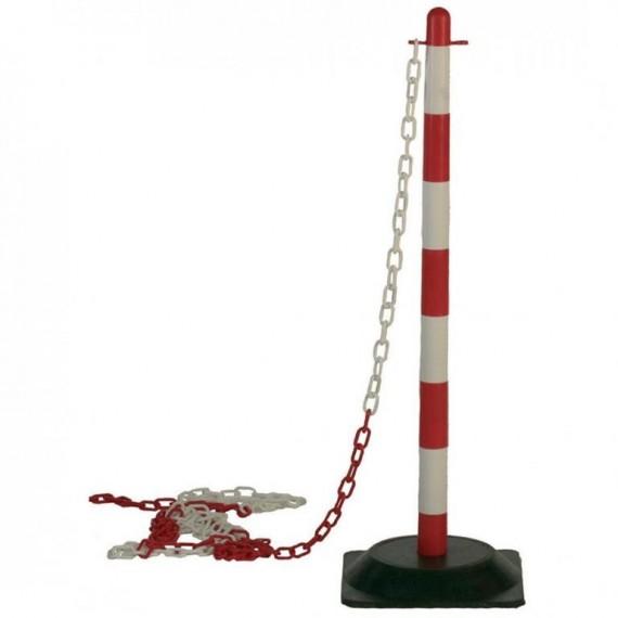Kültéri műanyag lánctartós kordonoszlop piros-fehér színben, 3,5 literes, vízzel tölthető fekete színű talppal.