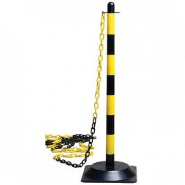 Kültéri műanyag lánctartós kordonoszlop sárga-fekete színben, 3,5 literes, vízzel tölthető fekete színű talppal.