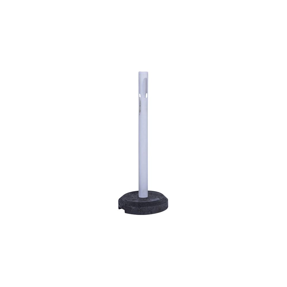 Fehér színű kültéri korlát és műanyag szalag tartós kordonoszlop 12 kg-os talppal