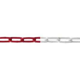 Piros-fehér műanyag lánc kültéri kordonoszlophoz
