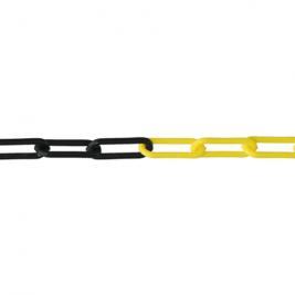 Sárga-fekete műanyag lánc kültéri kordonoszlophoz