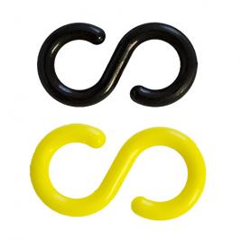 Műanyag összekötőszem lánchoz S alakú sárga-fekete színben