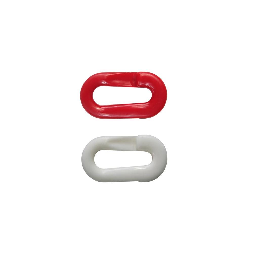 Műanyag összekötőszem lánchoz zárható piros-fehér színben